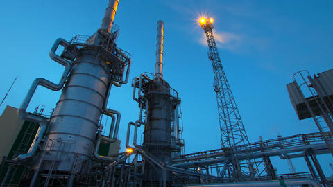 Day Becomes Night in Large Gas Extraction Plant Footage