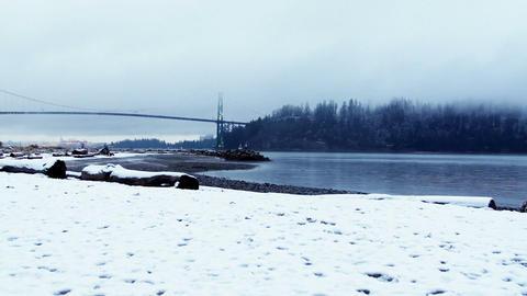View of suspension bridge and sea Live Action