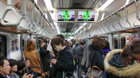 Travelers Commuters Korean People Traveling On Seoul Underground Subway Train Live Action
