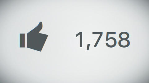 Close-up Counter of Likes Quickly Increasing. 3d Animation. Front view. Business Animation
