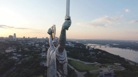 Aerial View of Motherland Monument Kiev Ukraine Footage