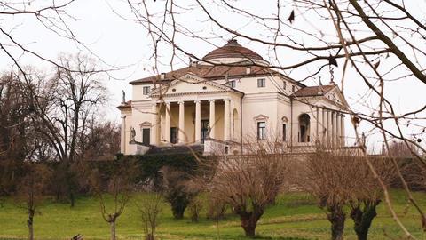 Villa Capra La Rotonda in Vicenza, Italy. Slow motion shot Footage