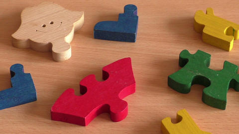 Colorful wooden puzzle for kid Footage