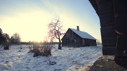 Old Wooden house in Winter Village Footage
