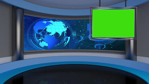 HD News-29 TV Virtual Studio Green Screen Red with Globe & Monitor Animation