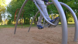 Man exercising in park. Slow motion Footage