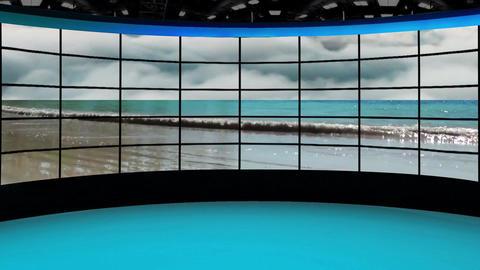HD News-36 TV Virtual Studio Green Screen Background Blue Beach Animation