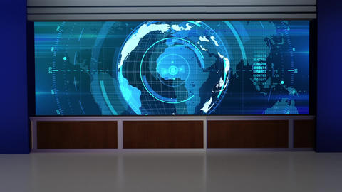 HD News-32 TV Virtual Studio Green Screen Background Blue Colour with Globe Animation