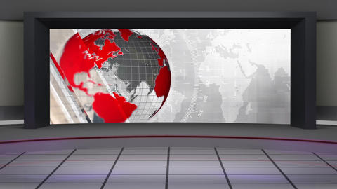 HD News-34 TV Virtual Studio Green Screen Background white red colour with globe Animation