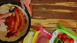 Making pizza at kitchen. Top view Image