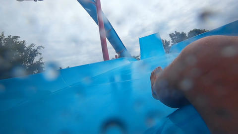 Fun down the water slide Footage