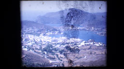1972 - Greece trip panorama high above the coast with many coves and towns white Footage
