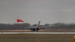 Afterburner lit on an F-16 Fighting Falcon jet fighter taking off Footage