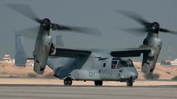 V-22 Osprey Tilt Rotor Aircraft At Bahrain Airshow stock footage