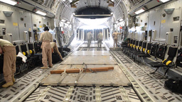 C-17 Globemasters Airlift Rwandan Soldiers to the Central African Republic Footage