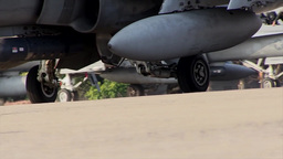 Marine FA-18Ds Hornet taxis to the runway, Ground view Footage
