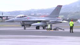 Danish F-16s landing at Lajes Field, Azores Footage