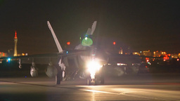 EA-18G Growler unfolds its wings as it taxis to the runway Footage