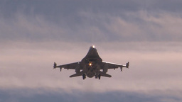 An F-16 prepares to land during Red Flag Footage