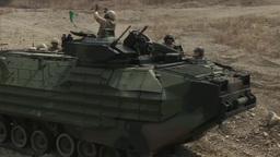 Assault Amphibious Vehicle Weapons Training stock footage
