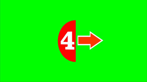Countdown form five to zero, white number in red semicircle and arrows. FullHD v