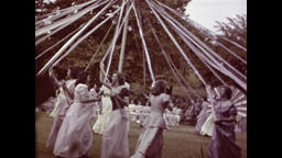 1940s - 1950s: Maypole Festival Dancing and Celebration Footage