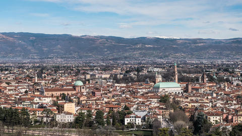 Vicenza skyline Timelapse. Panoramic view of historic Vicenza city center Footage