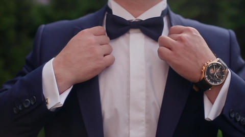 Man Bow Tie on a Suit Footage