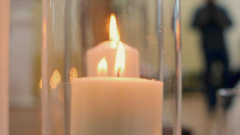 Glass Jars with Candles Inside Footage