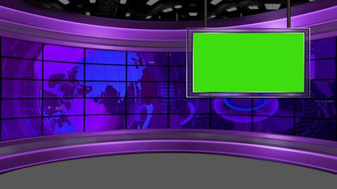 HD News-37 TVVirtual Studio Green Screen purple colour with Globe & Monitor Animation