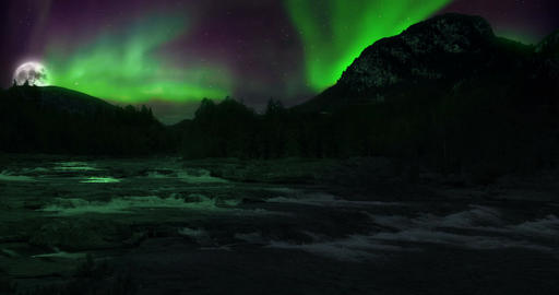 VFX Shot - Aurora Borealis And Supermoon Above A River, Norway Footage