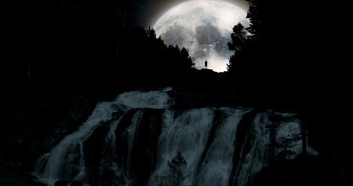 VFX Shot - Huge Super Moon Above A Huge Waterfall With Silhouette Of A Man, Norw Live Action