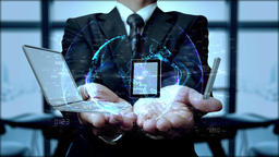 Technology in the hands of businessman 4K Animation