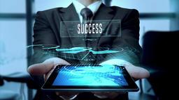 Businessman Using Hologram Tablet Technology Concept - Loop Animation