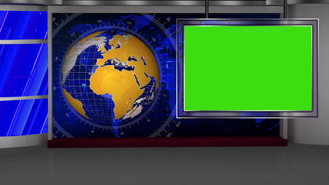 HD News-41 TV Virtual Studio Green Screen Red Colour with Yellow Globe Animation