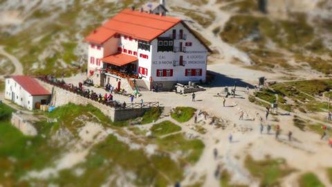 11838 tiny world tourist traffic refuge Locatelli dolomites Footage