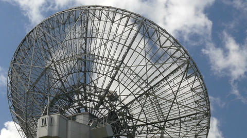 11840 time lapse clouds over huge radio telescope Footage
