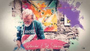 Watercolor and Ink Slideshow After Effects Project