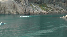Greenland Prince Christian Sound 038 boats in the bay of Aappilattoq village Footage