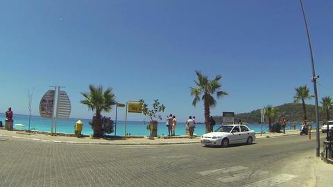 POV. Driving through sea tourist resort Footage