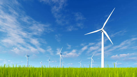 Rotating wind turbines on a green grass field Animation