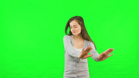 Woman Dancing Green Chroma Key Screen Background Footage