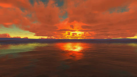 Red Cloudy Sunset At Sea Animation