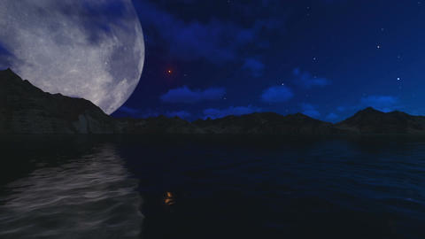 Big Moon Over Night Sea Animation