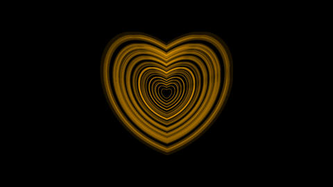 Pulsing Yellow Heart With Alpha Channel CG動画素材