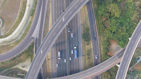 Aerial View Of Highway Interchange traffic Filmmaterial