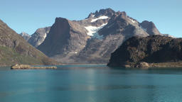 Greenland Prince Christian Sound 090 reflections of mountain landscape in water Footage
