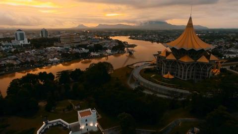 Kuching's sunset glow.A Footage