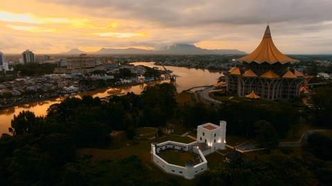 Kuching's sunset glow.B Footage