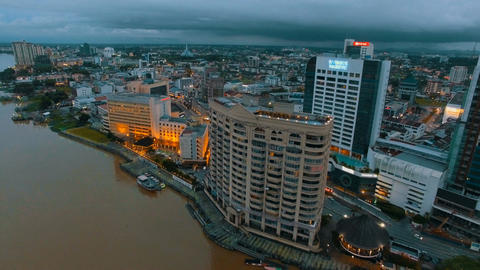 Dolly shot of the streets from the Sarawak River Footage